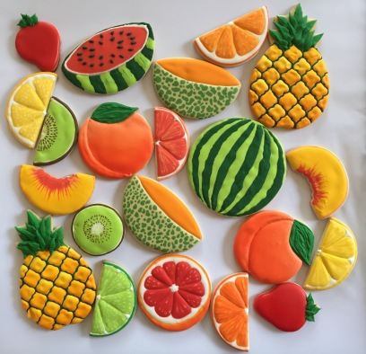 Cookies in the shape of fruits.